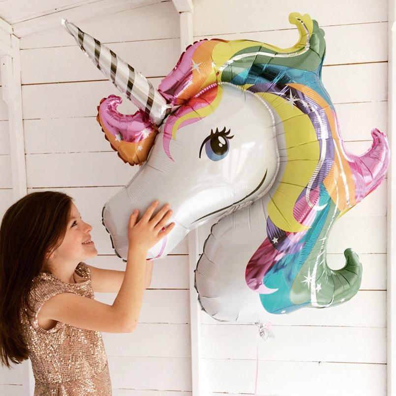 45-110cm Giant Unicorn Balloon Party Supplies Birthday Party Decorations Rainbow  Balloons Kids Foil Balloons Cartoon Hat