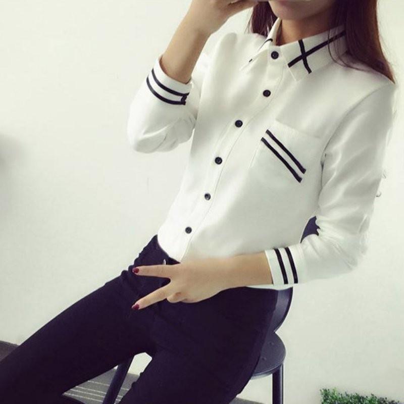 HTB1G8xRNXXXXXc2XXXXq6xXFXXXu - Fashion Ladies Office Shirt White Blue Tops Formal