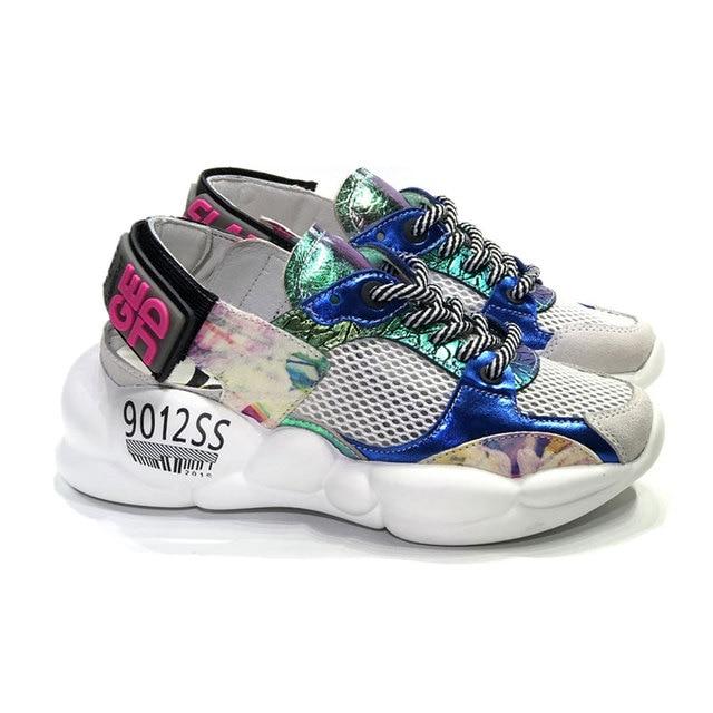 b6999a8d0b33 Prova Perfetto Women Fashion Brand Falt Platform Sandals Sneakers Back Hook  Loop Strap Casual Sport Sneakers Color Matching Shoe