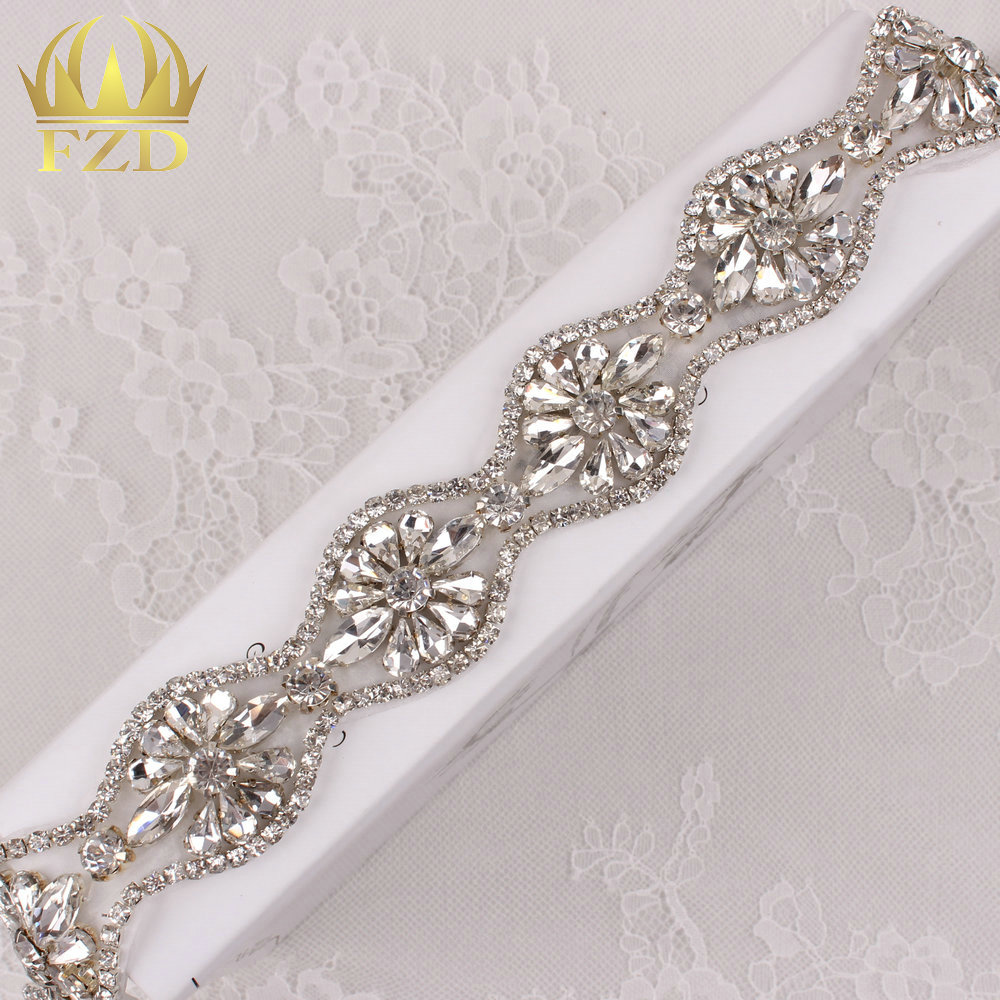 (10yards) Wholesale 1 Yard Sewing On Beaded Hot Fix Rhinestone Appliques Bridesmaid Trim for Wedding Dresses Bridal Garters Sash