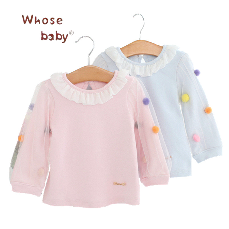 Newborn Autumn Clothing 2017 Winter Baby Girls Sweater Lace Neck Ball Clothes For Children Infant Jacket WinterOveralls for Girl