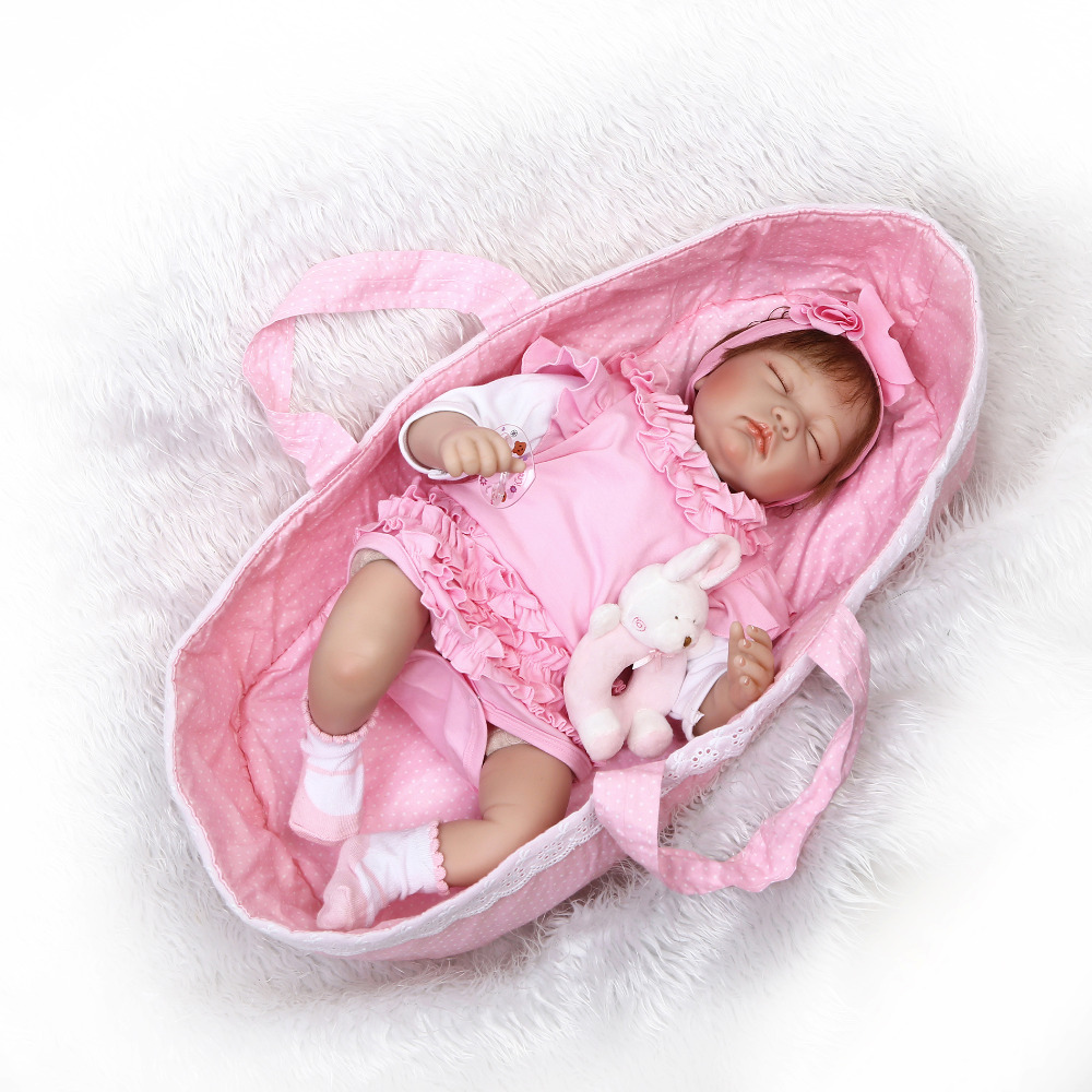 Nicery 20 22inch 50 55cm Bebe Reborn Doll Soft Silicone Boy Girl Toy Reborn Baby Doll Gift for Children Pink Sleeping Basket
