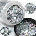 1Box Holographic Laser silver color mixed glitter different shapes for nail art charms beads HOT SELLING 2016 1 gr jar pot, TRE5