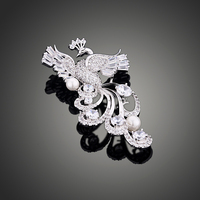 Fine Manufacturing Copper Inlaid Zirconium Plating White Color Jewelry Fashion Elegant Peacock Brooch Pin For Women
