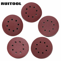 RUITOOL 5 125mm Sand Paper Flocking Discs 60 1200 Grits For Metal Wood And Glass Polishing
