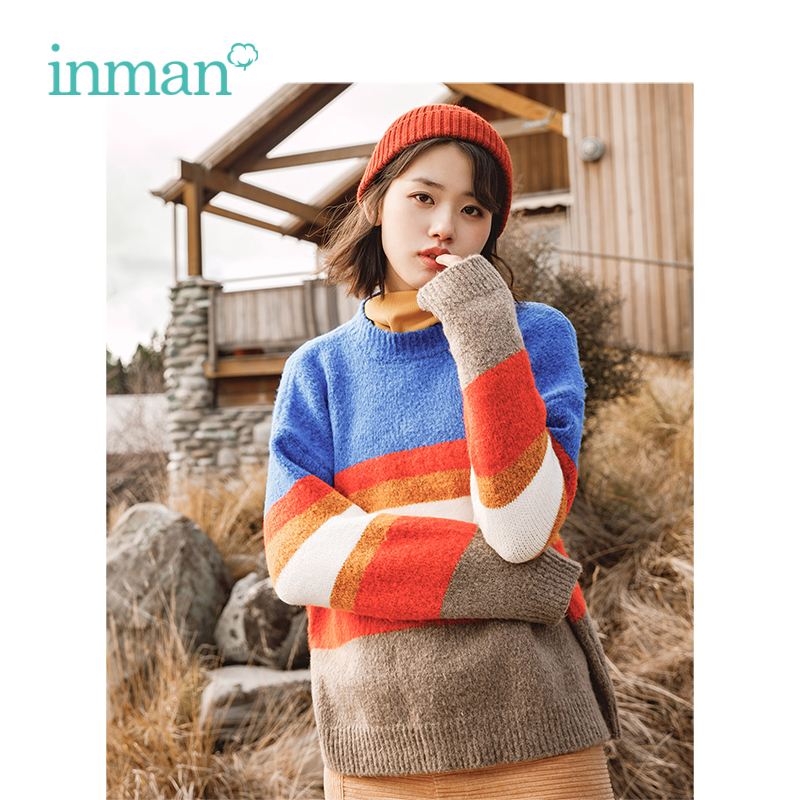 INMAN Winter New Arrival Female Round Collar Stripe Warm Loose Women Pullover Sweater
