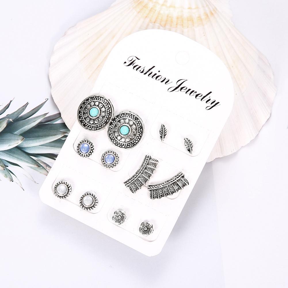 6Pairs/Set Retro Round Feather Flower Bead Stud Earrings Women Boho Jewelry Gift