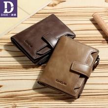 DIDE högkvalitativa plånboksmän läder Äkta Mäns vintagehalsband stor kapacitet kort handväska med dragkedja myntficka 829