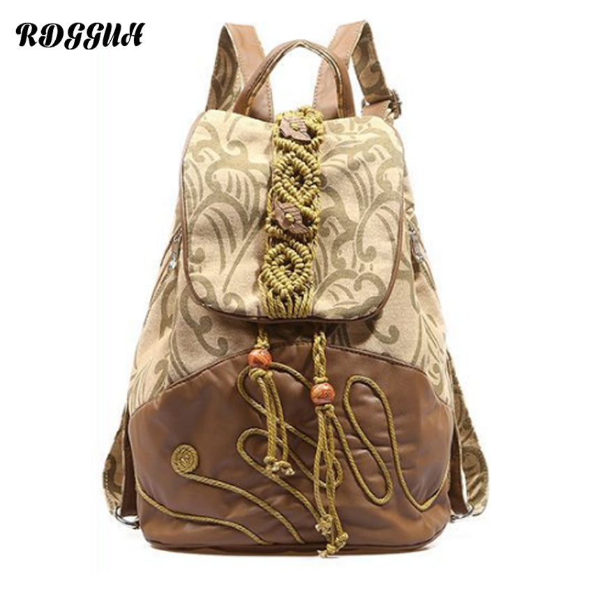 RDGGUH New Flax And Linen Fashion National Style Ms Backpack Female Designer Hand Made  Backpacks For Girls Travel Shoulder Bag rdgguh backpack bag new of female backpack autumn and winter new students fashion casual korean backpack