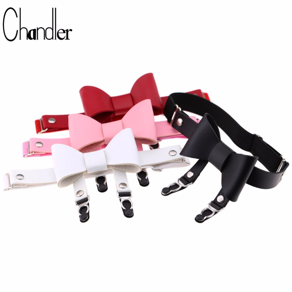 Chandler Bowknot Leg Necklace For Women Fashion Punk Gothic PU Leather Cool Stockings Double Belt Choker Revit Dancer Jewelry image