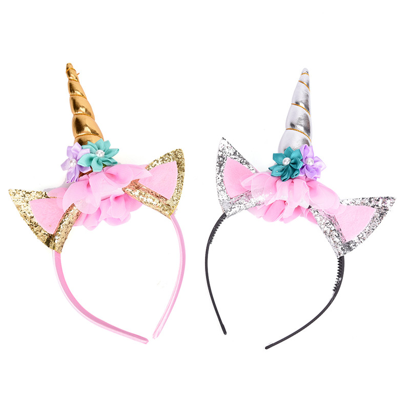 Unicorn Horn Hair Hoop Chiffon Glitter Ears Children DIY Party Hats Baby Headband Hairbands Headwear