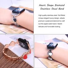 Heart Diamond link watch bands for apple band 42mm 44mm &for 4 40mm Bracelet iwatch Series 3 2 1 38mm