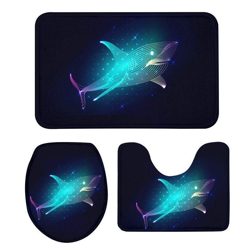 3Pcs Toilet Seat Mat Suit Cool Shark 3D Printing Doormat Anti Slip Suction Grip Bath Mat Bathroom Kitchen Washroom Rug Home Deco|Toilet Seat Covers| |  - title=