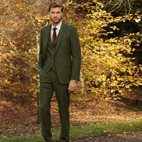 2018 latest coat pant designs green tweed men suits fall winter street man blazer for business wedding elegant tuxedos 3 pieces