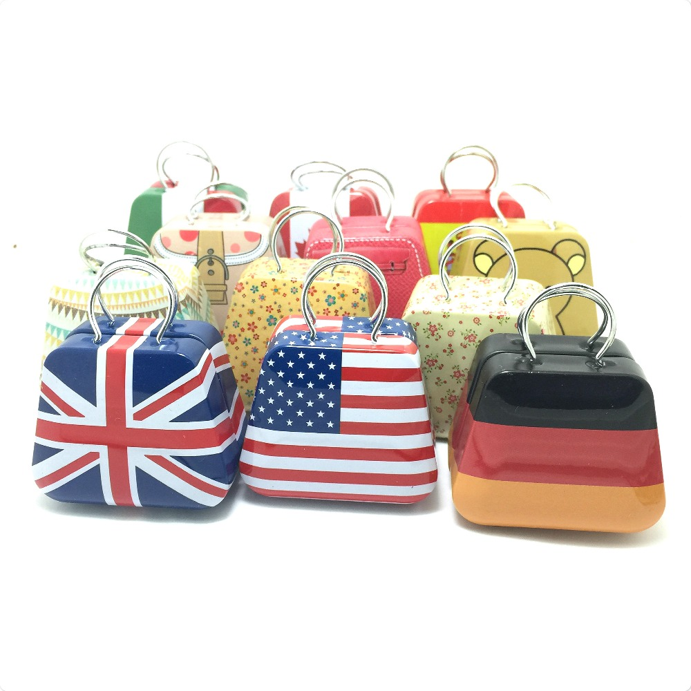 12Pcs Mix packing Handbag Shape Mini flag Small Tin Box Coin Candy Jewelry Little Zakka Storage BAG BOX 3.5x5.5X3.5cm ...