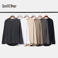 QoolXCWear Men T shirts Super Long Sleeve T Shirt Hip Hop T shirts hem With Curve Tops tee
