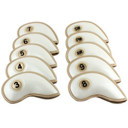 Гладить Крышка для гольфа Толстый PU искусственная кожа Гольф-железный наконечник 10 шт. (3-9, AW, SW, PW) Бесплатная доставка