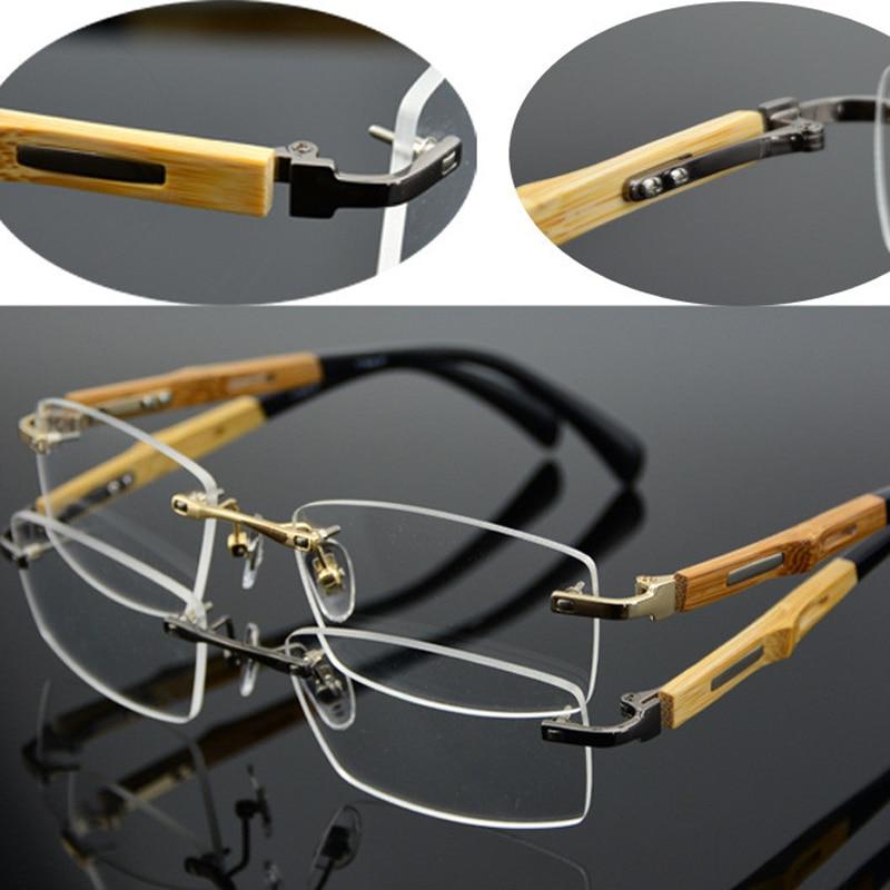 Chashma Značka Ženy Eyewear Ultra Light Pure Titanium Oční brýle Rimless Bamboo Dřevo Chrám Brýle Rámy Muži
