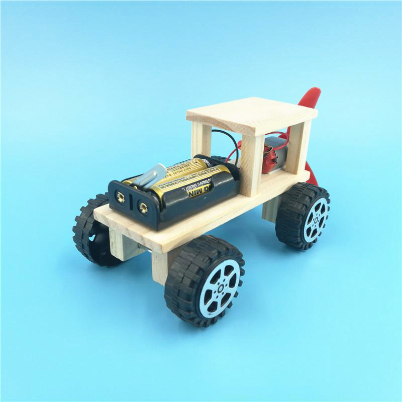 DIY Electronic Blocks Toy Handmade Taxiing Wooden Car Model Blocks Toy Kid Assembling Electric Toy Educational Toys For Children