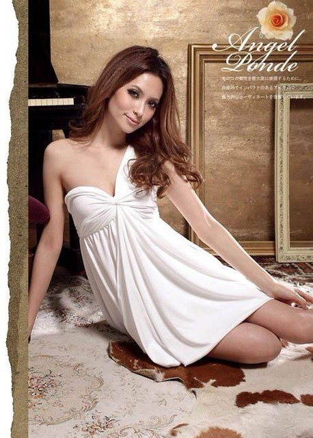 2013 women Dress new sexy elegant One Shoulder skirt hanging mini Dresses  free shipping
