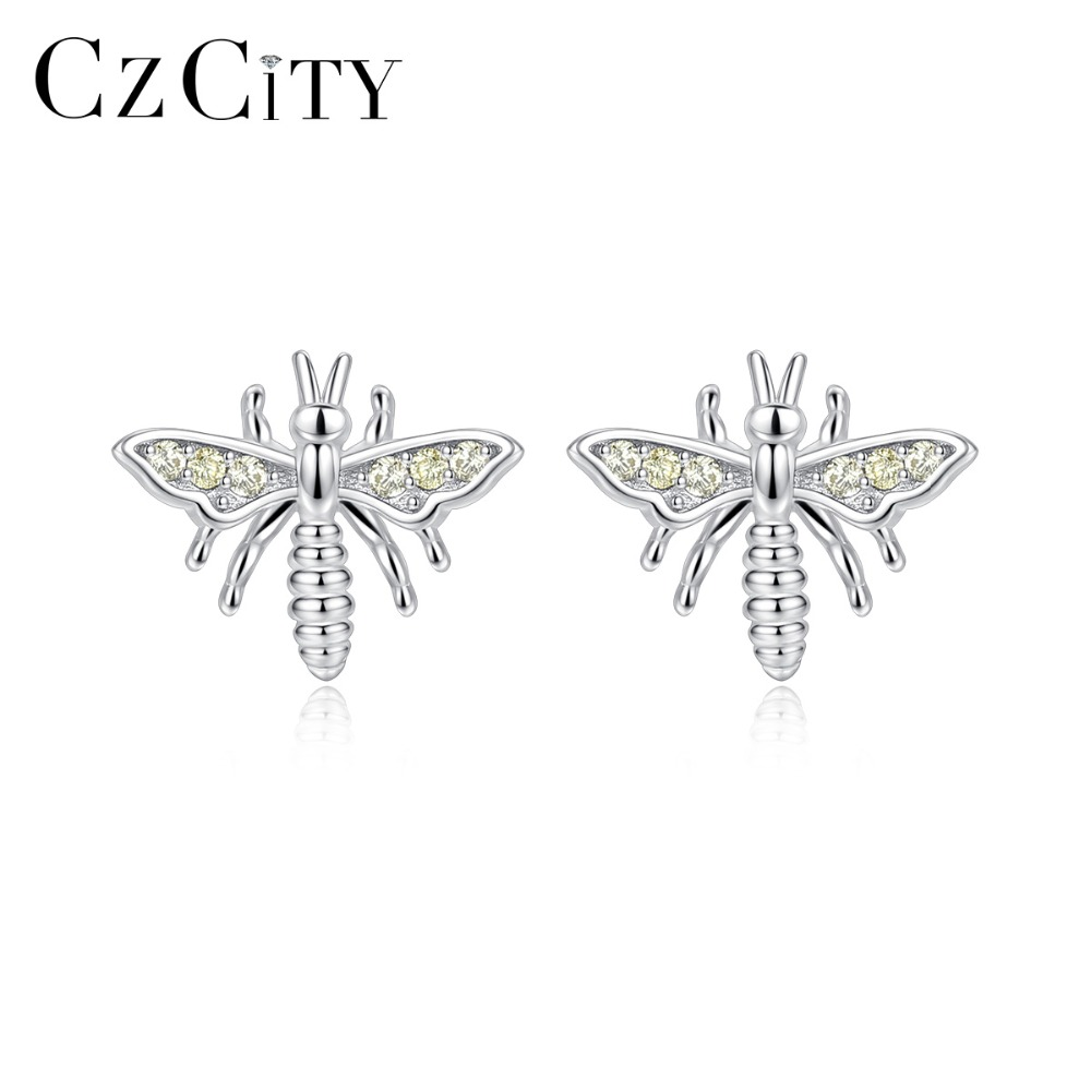 CZCITY 100% 925 Sterling Silver Simple Bee Stud Earring For Women Cute Animal Girls Earring Fine Jewelry Daily Accessories Gifts