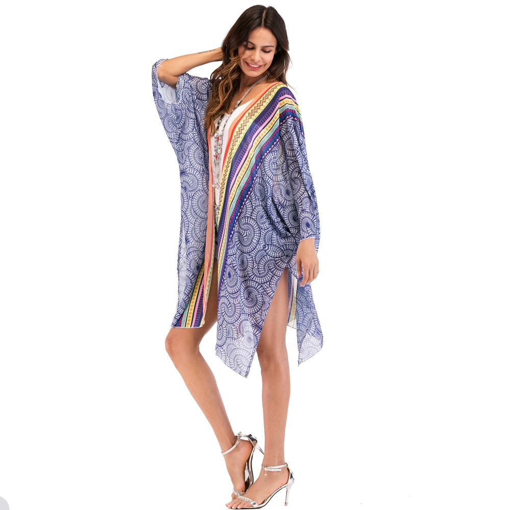 d61519e79e9da Summer Chiffon Floral Long Kimono Cardigan Women Loose Chiffon Blouses Tops Plus  Size Sheer Vintage Boho Kimono Blusas