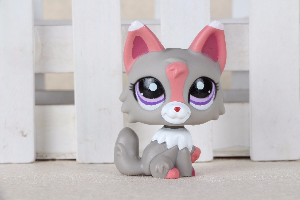 New pet Genuine Original LPS #1921 Purple Eyes Gray Pink & White Wolf Pink Ears Kids Toys lps pet shop toys rare black little cat blue eyes animal models patrulla canina action figures kids toys gift cat free shipping