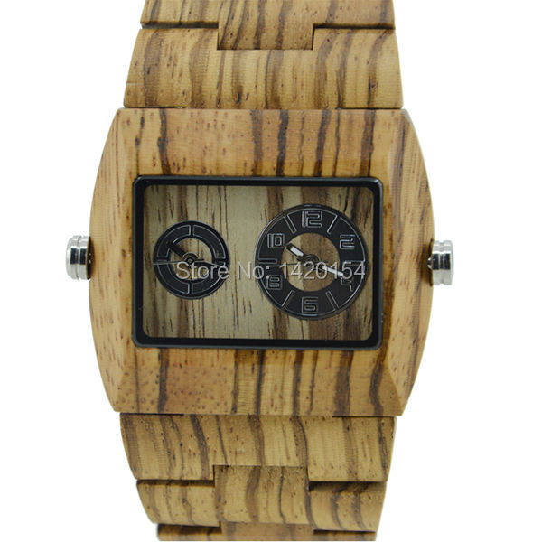 2016 New Zebra Wooden Watch Mens Bewell Dual Movement Squre Wood Watch цена