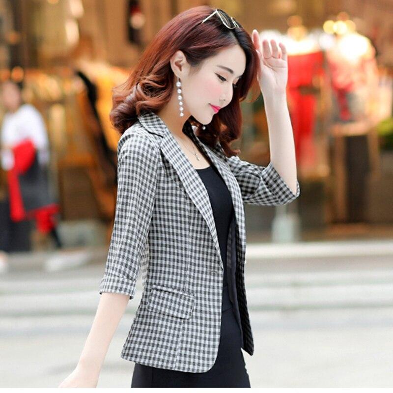 Casual Women Coat Female Suit New Mujer Self Seven Rice Plaid Korean Grid 2018 point cultivation Lady gray Spring Lattice N441 Sleeve Autumn yellow Blazer Plaid ETz7wq8E