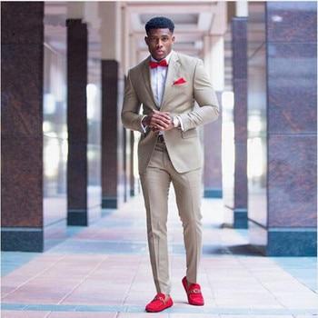 Kahki Men Suits 2 Piece Formal Business Suit Slim Fit Groom Tuxedos Men's Classic Suit Slim Fit Wedding Tuxedos (Jacket+Pants)