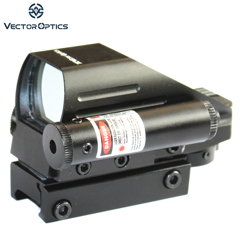 Vector Optics Tomcat 1x22x33 Hunting 4 Reticles Red Green Dot Scope Electro Gun Sight with Side Red Laser Sight Combo