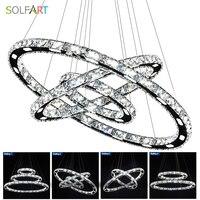 SOLFART LED Crystal Pendant Lights Lamp Lighting Fixtures With Cord Adjustable Dimming Lustre Abajur Chandelier Lighting
