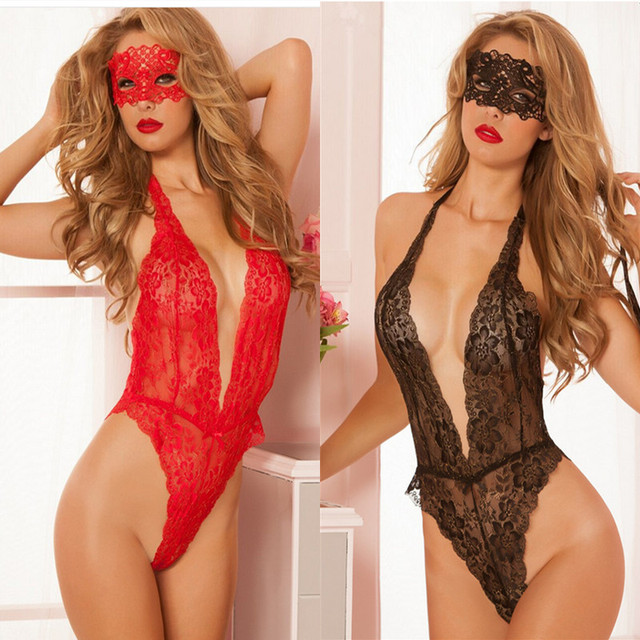 773511276c9 Hot Red Black Lace Deep-V Neck Sexy Lingerie Babydoll Sexy Costums Clothes  Lace Sexy Clothes 4331