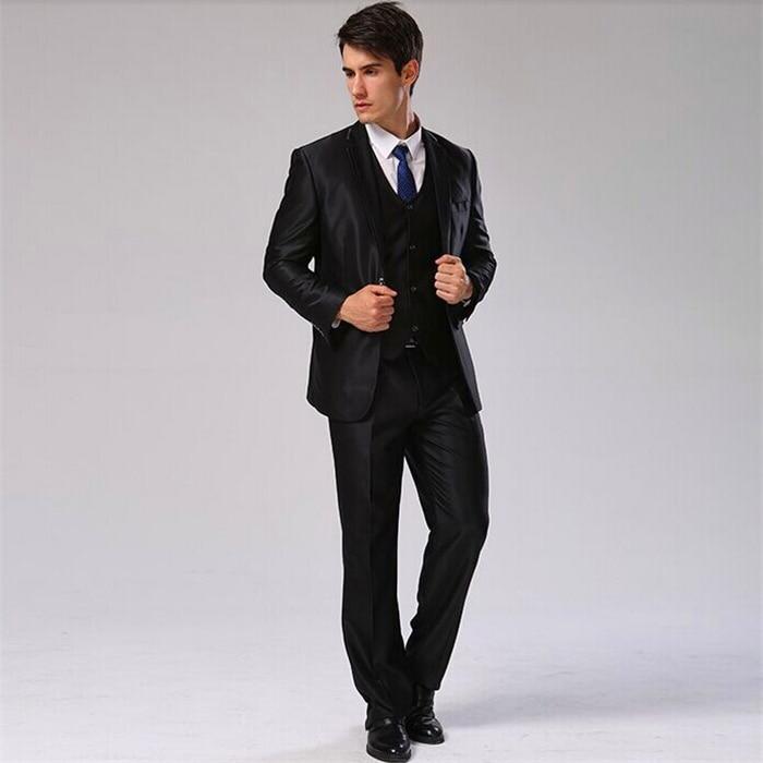 Куртка+ Брюки для девочек+ жилет+ галстук) мужской костюм Slim Fit Повседневное Свадебное Платье Блейзер формальный Бизнес костюм плюс Размеры Для мужчин смокинг cbj-f1318 - Цвет: shinny black 1