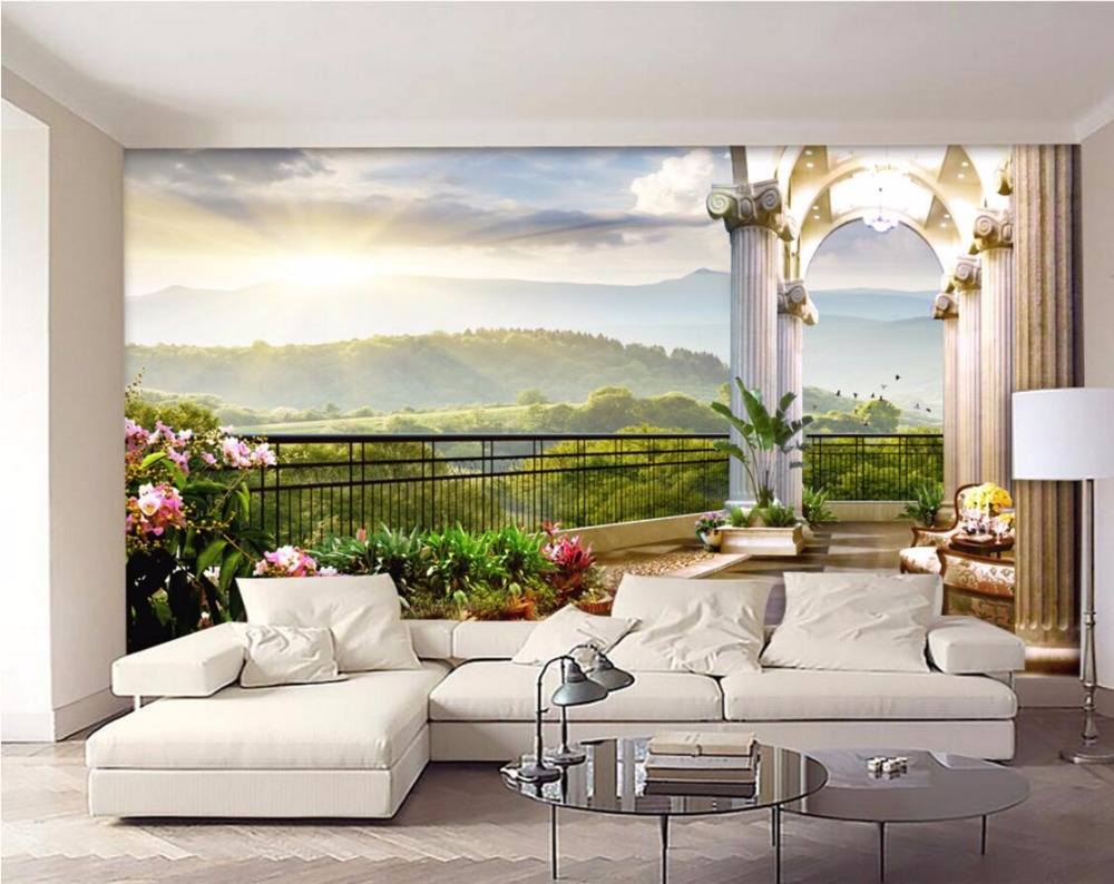 3d room wallpaper custom mural out of the window balcony for Custom mural painting