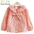 Moon morning crianças blusa 2 t ~ 8 t estrela imprimir bow adorável rosa meisjes escola roupas primavera turn-down regular babado criança vestuário