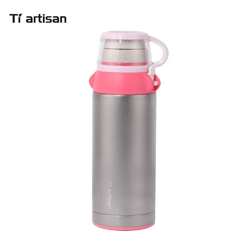 Tiartisan pur titane vide Thermos 600 ml enfants Portable Watter bouteille enfants flacon tasse saine bébé thé tasses Ta8400Y-Ti