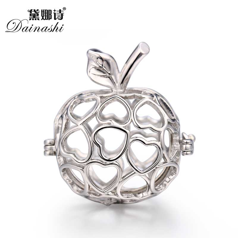 Apple Locket Cage Pendant, Can Open Pearl Gem Beads Cage Pendant, Lovely Diy Jewelry findings 2017 locket