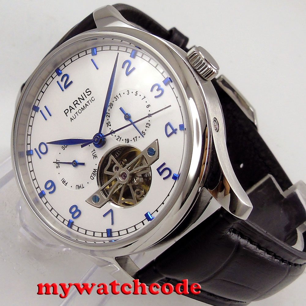 лучшая цена 43mm parnis white dial date date ST2552 automatic movement mens watch P902