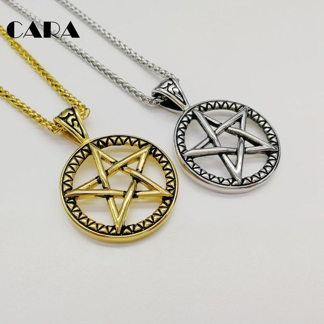 2019 New 316L stainless steel vintage color 5 pointed star circle pendant  necklace fashion men stylish jewelry necklace CARA0416 a4ec31cc4681