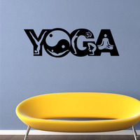 9500 Yoga Wall Stickers Yoga Poses OM AUM WALL VINYL STICKER DECALS ART MURAL Yoga Wall