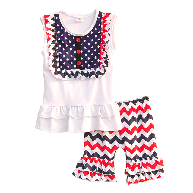 4th Of July Girls Boutique Ruffle Clothing Sets White Shirt With Stars Bib Chevron Ruffle Short Outfits Kids Clothes J003