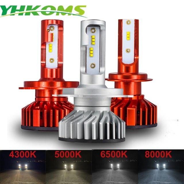 YHKOMS Mini H4 luces H7 LED Canbus H1 H11 H8 H9 9005 HB3 9006 HB4 Hi/Lo Car Headlamp 4300K 5000K 6500K 8000K Auto LED Lamp 12V