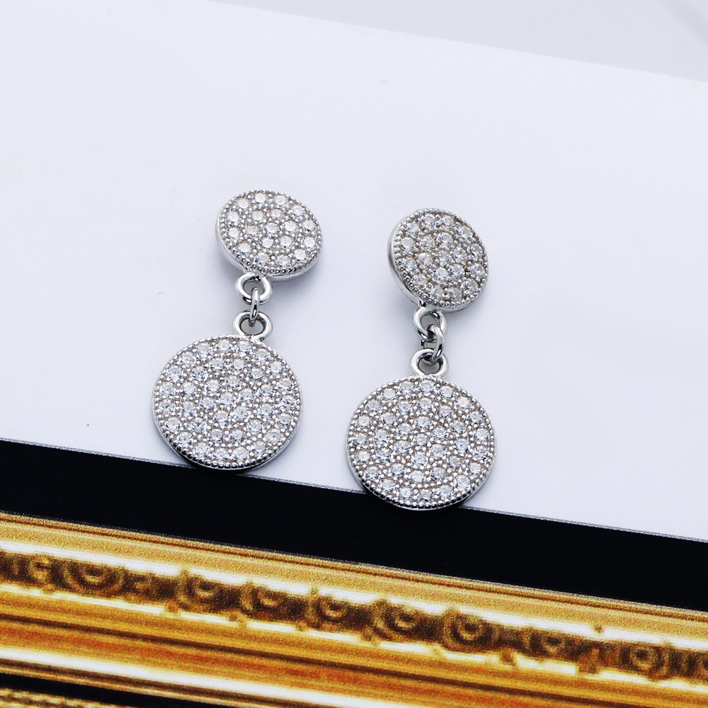 Real 925 sterling silver round drop Earrings Zirconia jewelry women 39 s Earring boucles d oreille femme bijoux en argent 925 in Earrings from Jewelry amp Accessories