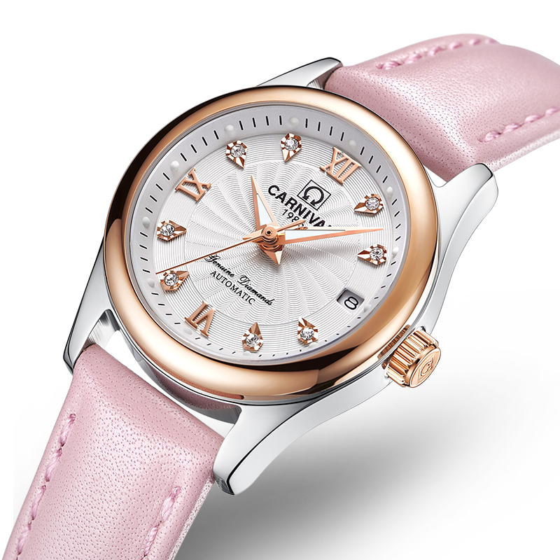 Carnival Women Watches Luxury Brand ladies Automatic Mechanical Watch Women Sapphire Waterproof relogio feminino C-8830-12 2017 carnival luxury brand mechanical watch women leather bracelet waterproof sapphire mirror stainless steel automatic watches
