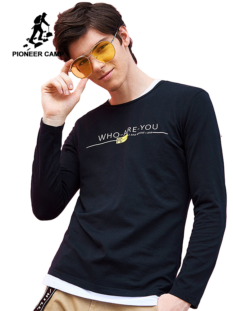 Pioneer Camp New letter   T  -  shirt   men brand clothing long sleeve   T     shirt   male top quality stretch Tshirt black red ACT701190