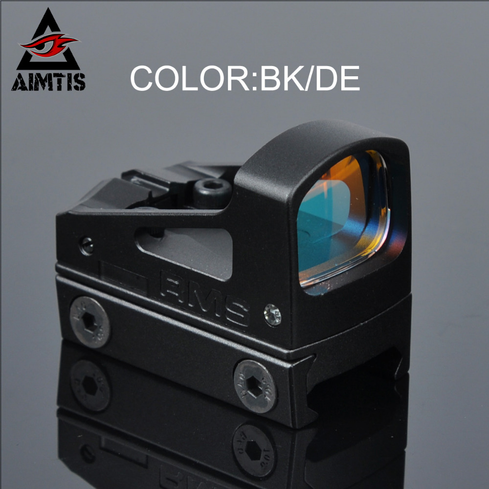 AIMTIS Hunting Scopes RMS Reflex Mini Red Dot Sight With Riser Mount For Airsoft Pistol and 20mm Weaver Pictinny Rail Base acog style reflex 1x24 moa red dot sight auto dimming w 20mm rail mount