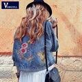 Chaqueta de Mezclilla Bordados de flores 2017 Nuevas Mujeres de La Vendimia Azul Bolsillos Botones Atrás Pájaro Bordado Escudo Loose Femme Jean Prendas de Abrigo