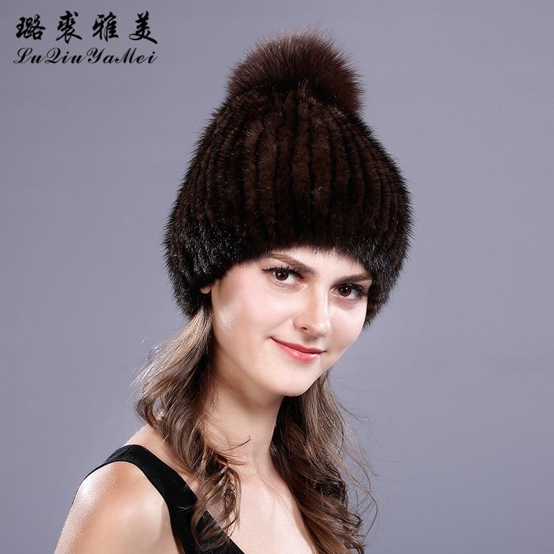 Mink Fur Beanies Hat Knitted Pompoms Elegant Caps Female Hat 2017 Fox Fur Beanie Russian Real Mink Fur Pompom Women's Hat Winter