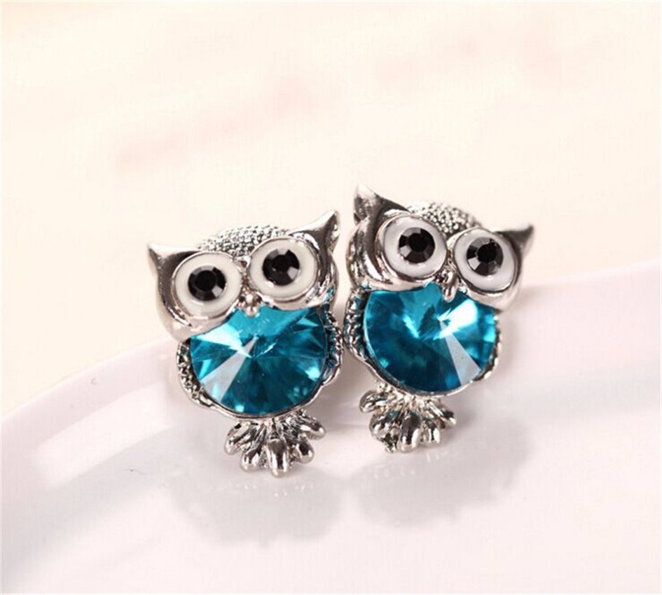 New Design Crystal Women Charms Owl Stud Earrings Five Colors Fashion Jewelry White Gold Plated Cute Trendy For Wedding HFN